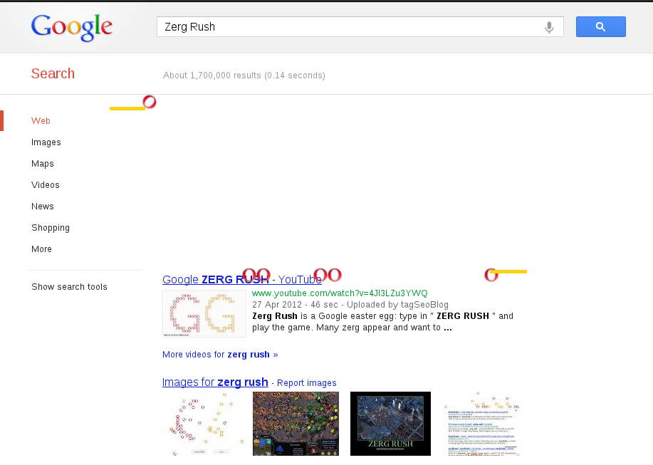 "On Google Search type ""Zerg Rush"""